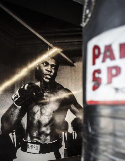Wandbild von Boxer im Vordergrund ein Boxsack